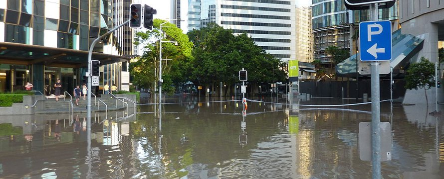Overstroming stad Australie Brisbane Wateroverlast - Wikimedia Commons, 2020