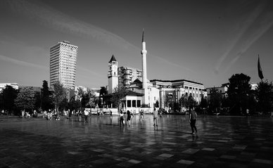 "Skanderbeg Square, Tirana"" (CC BY 2.0) by Andrew Milligan sumo"