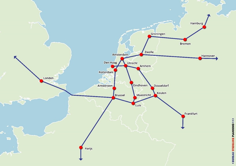 Toekomstige HSL-verbindingen en -stations Nederland
