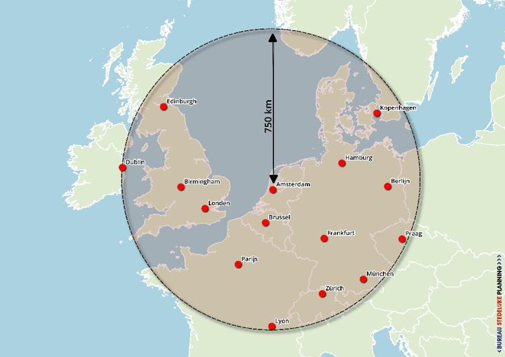 Steden binnen 750 km van Amsterdam waar een HSL-verbinding een alternatief vormt voor vliegen