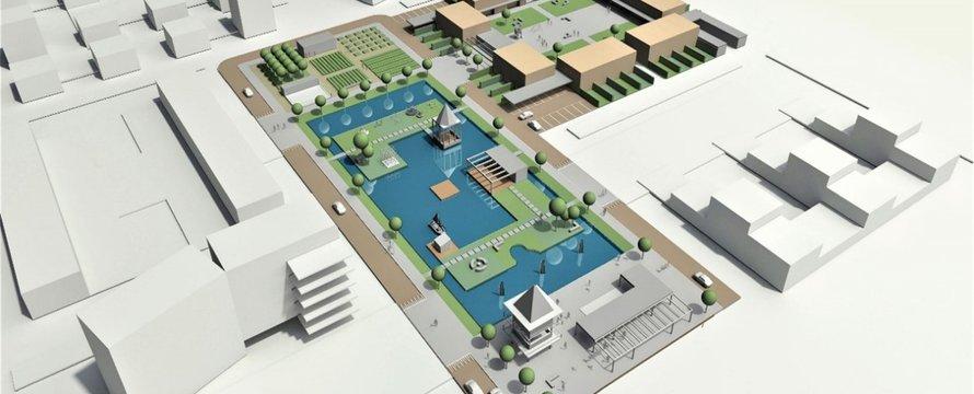 Deel van de stedenbouwkundige ruimtelijke opzet uitgewerkt tot voorontwerp