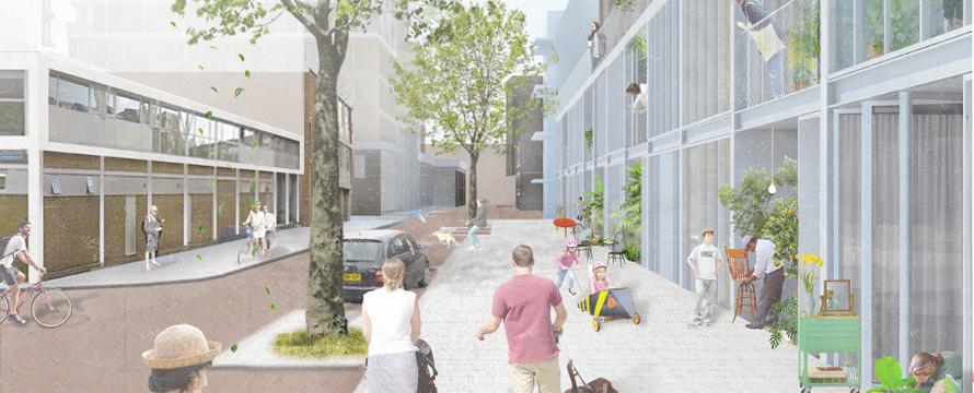 Inpandige buitenruimtes, render-> ECHO urban design