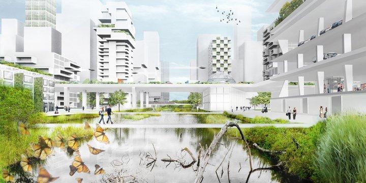 Visualisatie mogelijke toekomst voormalige Prins Alexanderlaan, Rotterdam.