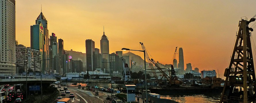 "Sunset Causeway Bay Hong Kong."" (Public Domain) by Bernard Spragg"