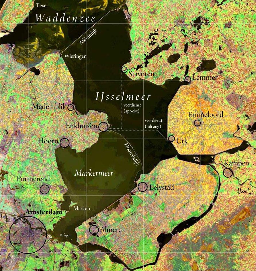 IJsselmeer. Satellietopname: Nasa Visible Earth