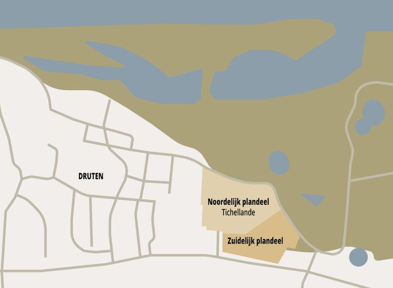Kaart van Tichellande, Druten