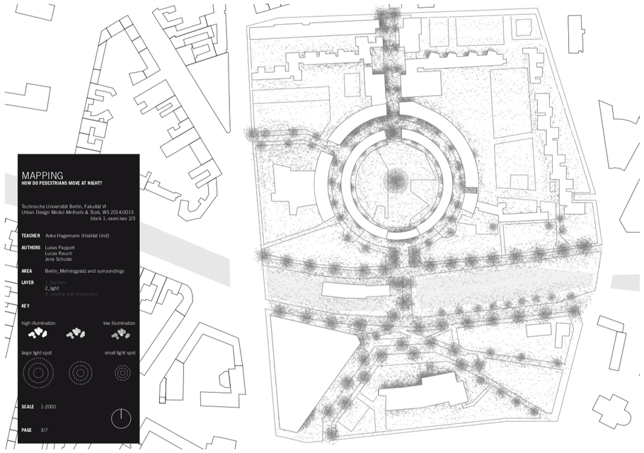 Mapping: How do pedestrians move at night?