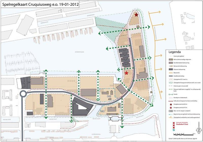 De spelregelkaart van het Cruquiusgebied in de gemeente Amsterdam(Stedelijke Transformatie)