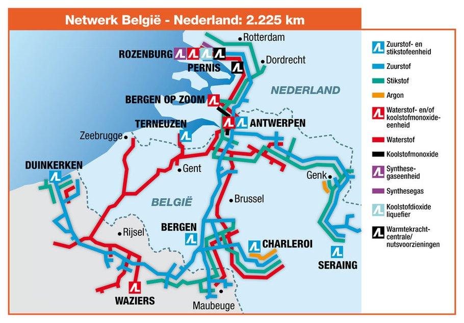 Kaart Air Liquide Benelux