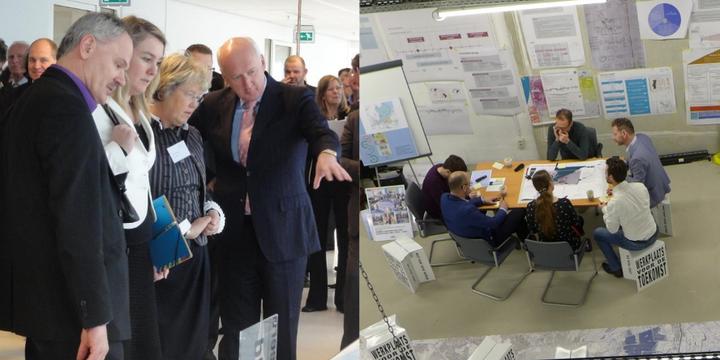 Adri duivensteijn -> Gemeente Almere, Presentatie van ontwerpvoorstellen (links) en co-creatie in ontwerpateliersessie