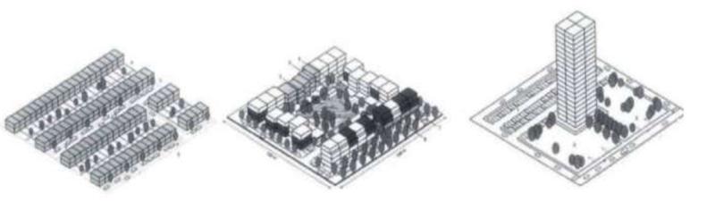 drie verschillende stedenbouwkundige ontwerpen