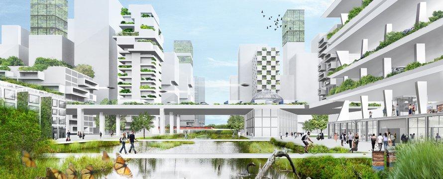 stad van de toekomst circulair illustratie