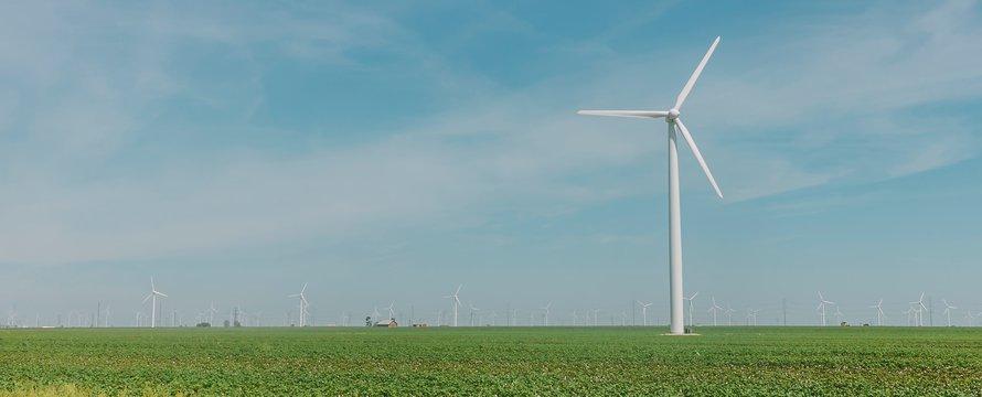 Windmolens in landschap