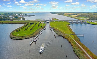 Aerial from the sluice at Nijkerk in the countryside from the Netherlands