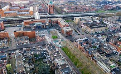 Den Bosch, Netherlands - 26-03-2020: The train station of Den Bosch seen from above
