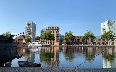 Tilburg, North Brabant / Netherlands - June 20, 2020: Piushaven harbor at Tilburg city centre.