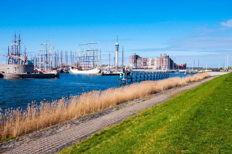 Landscape view of Batavia harbour in Lelystad