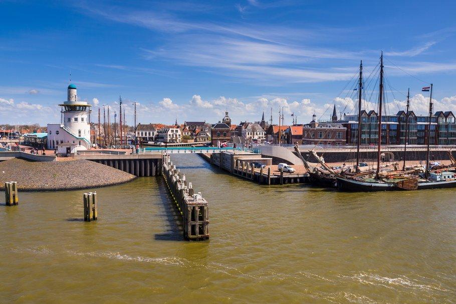 Harbor of harlingen. The departure point for the dutch wadden islands
